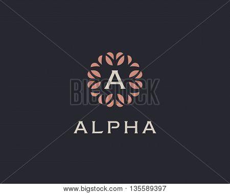 Premium monogram letter A initials logo. Universal symbol icon vector design. Luxury abc leaf logotype