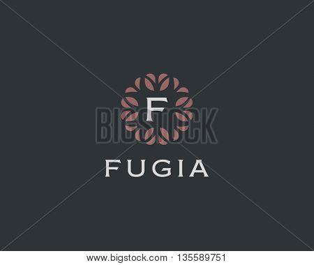 Premium monogram letter F initials logo. Universal symbol icon vector design. Luxury abc leaf logotype