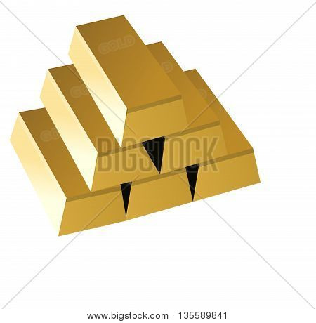 gold bars ,  six gold bricks ,