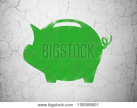 Banking concept: Green Money Box on textured concrete wall background