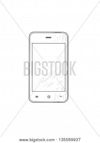 Mobile phone drawing design - vector illustration.