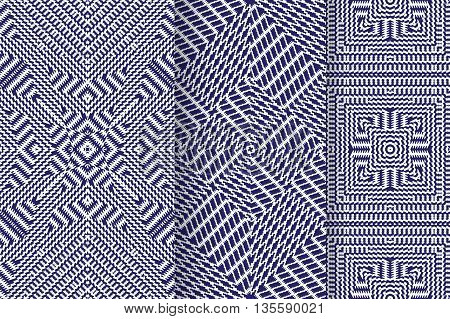 Set of 3 Abstract patterns. Seamless geometric illustration, cloth vector backgrounds, fabric textile patterns purple