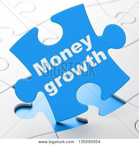 Banking concept: Money Growth on Blue puzzle pieces background, 3D rendering