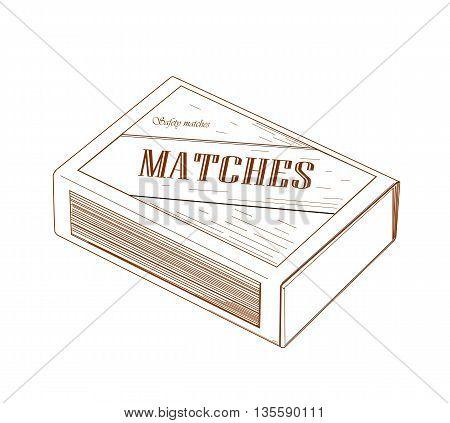Vintage matchbox drawing design - vector illustration.