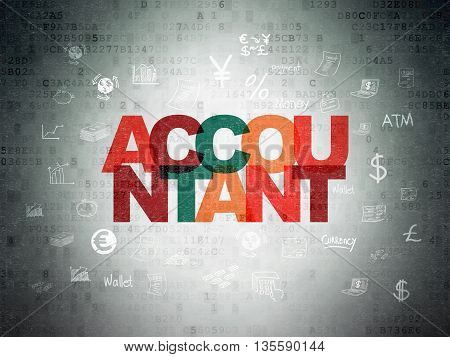 Banking concept: Painted multicolor text Accountant on Digital Data Paper background with  Hand Drawn Finance Icons
