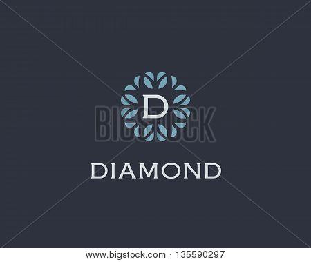 Premium monogram letter D initials logo. Universal symbol icon vector design. Luxury abc leaf logotype