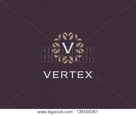 Premium monogram letter V initials logo. Universal symbol icon vector design. Luxury abc leaf logotype