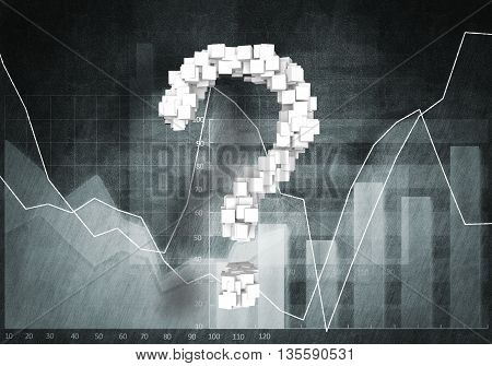 Big question mark on graphs and diagrams background, 3d rendering