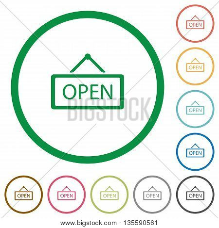 Set of open sign color round outlined flat icons on white background