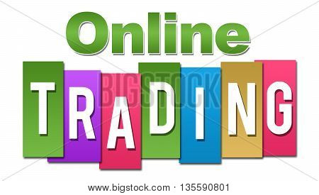 Online trading text alphabets written over colorful background.