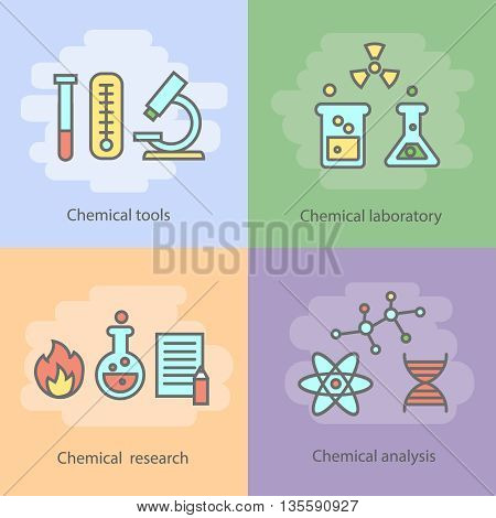 Chemical laboratory concept with instrumentation glassware burners and experiments reactions and research isolated vector illustration