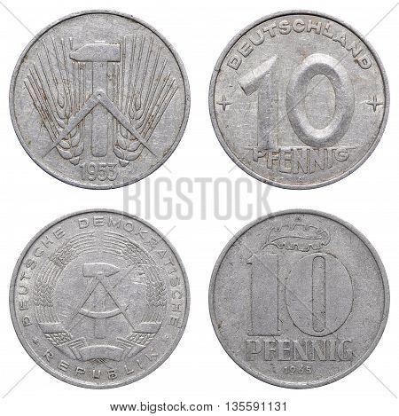 Ten Pfennig Coin Of East German Mark