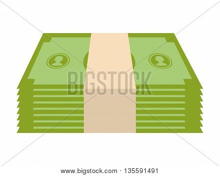 Money and financial item represented by bill icon over isolated and flat background