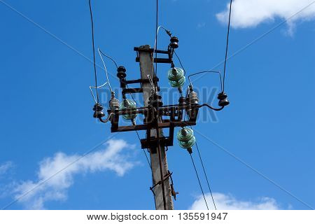 High voltage power line against the sky. Electricity