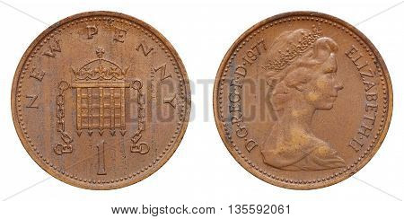 One Penny Coin Used In Great Britain