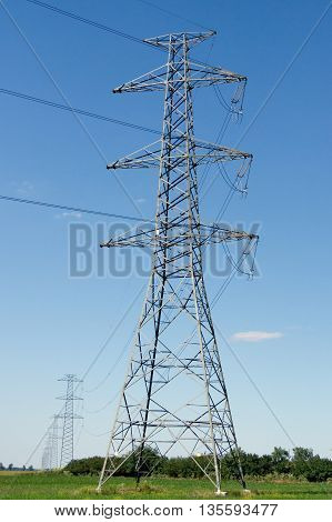 Power line pole. energy electricity line voltage