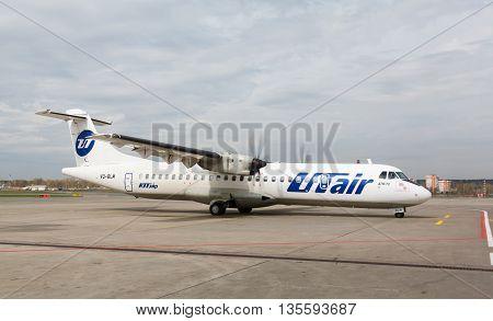 VNUKOVO, MOSCOW REGION, RUSSIA - 17 June , 2016: Airplanes at Vnukovo international airport. Utair Airlines Atr 72 take off from runway