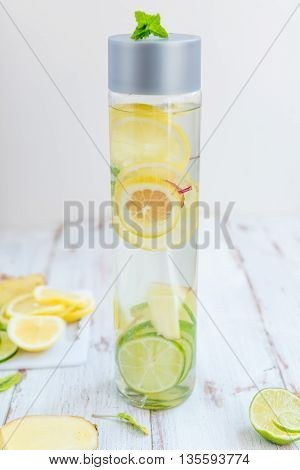 Detox Infused Water With Lemon, Lime, Ginger Lemonade