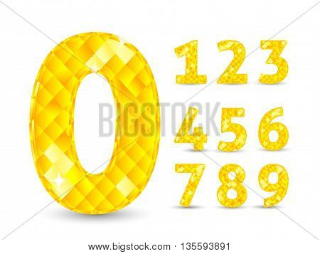 Realistic vector illustration with diamond numbers set. Number set, from 1 to 9. Diamond numbers set