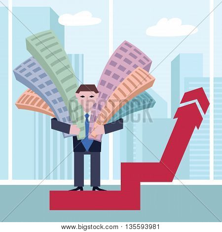 Businessman holding houses. Business concept the real estate market with arrow. Vector illustration of businessman with houses standing on arrow, on town background.