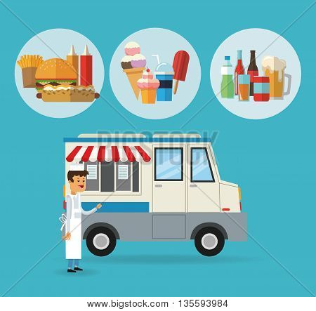 Delicius Food represented by specific menu with truck icon over pastel and flat background