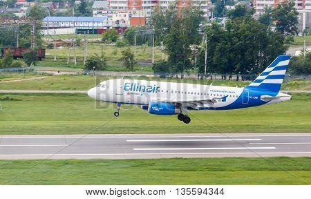 VNUKOVO, MOSCOW REGION, RUSSIA - 17 June , 2016: Airplanes at Vnukovo international airport. Ellinair Airlines A319 landing to runway
