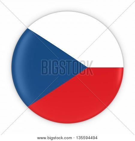 Czech Flag Button - Flag Of Czech Republic Badge 3D Illustration