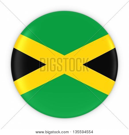 Jamaican Flag Button - Flag Of Jamaica Badge 3D Illustration