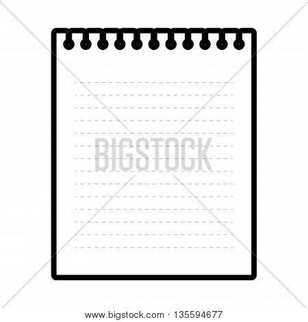Notebook represented by piece of paper over isolated and flat background