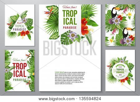 Set of 5 highly detailed tropical banners