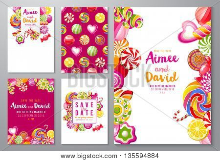 5 bright save the date backgrounds with candies