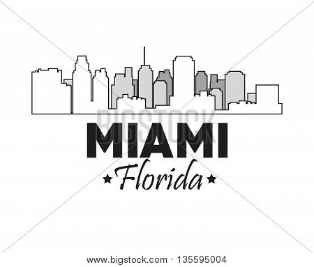 Miami Florida concept represented by Silhouette city design. Black and white illustration.