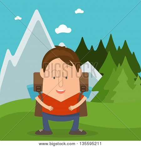 Funny Man Tourist In Cartoon Style In Forest With Mountains. Vector Illustration