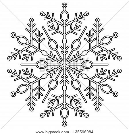Round vector snowflake. Abstract winter ornament. Black and white colors