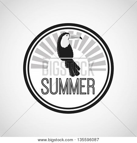 Summer and Exotic concept represented by tuncan over circle design. Black and white illustration