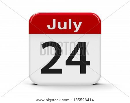 Calendar web button - The Twenty Fourth of July three-dimensional rendering 3D illustration
