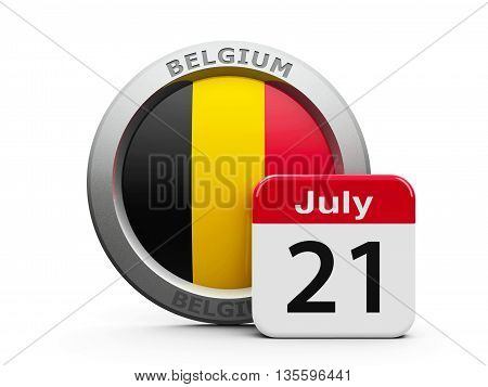 Emblem of Belgium with calendar button - The Twenty First of July - represents the Belgian National Day three-dimensional rendering 3D illustration