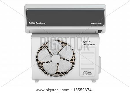 Air conditioner system 3D rendering on white background