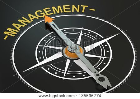 Management compass concept 3D rendering on black background