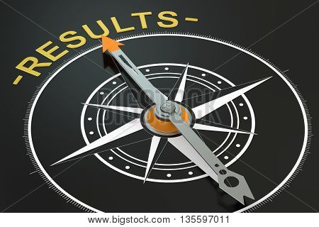 Results compass concept 3D rendering on black background