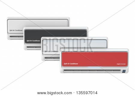 set of air conditioners 3D rendering isolated on white background