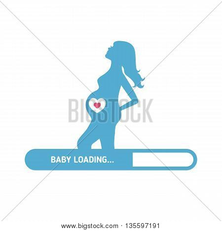 Pregnant woman consept. Silhouette of pregnant woman and set of kid's icons.