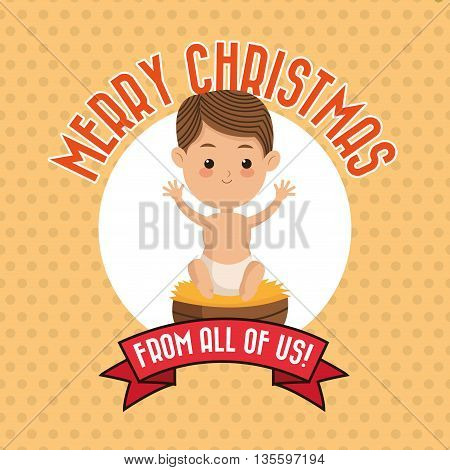 Manger represented by baby jesus icon over frame and pointed background. Merry Christmas design.
