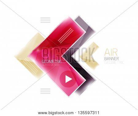 Glass arrow template. Vector abstract geometric design template