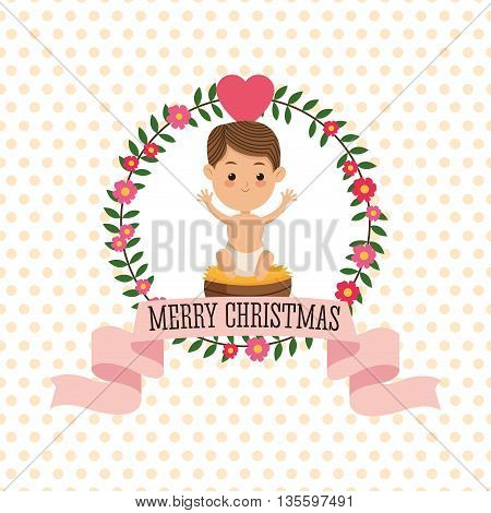 Manger represented by baby jesus icon over seal stamp. pointed background. Merry Christmas design.