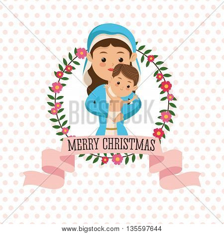 Manger represented by Holy Mary with baby jesus icon. pointed background. Merry Christmas design.