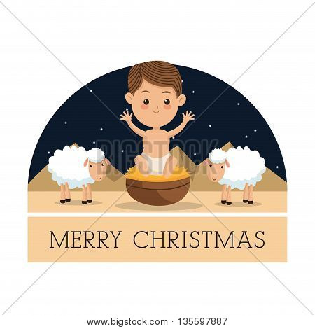 Manger represented by baby jesus icon over arch. isolated and flat background. Merry Christmas design.