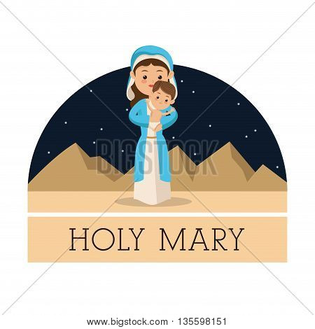Manger represented by Holy Mary with baby jesus icon. isolated background. Merry Christmas design.