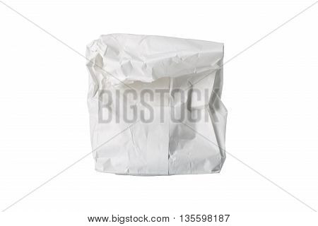 A small white paper bag wrinkled possibly for fast food folded isolated on white.
