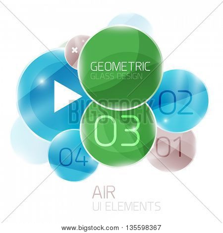 Colorful glass circles composition. Modern futuristic round elements, air abstract geometric template